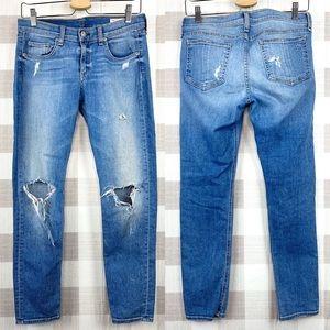 Rag & Bone Gunner Capri Pants Distressed Denim